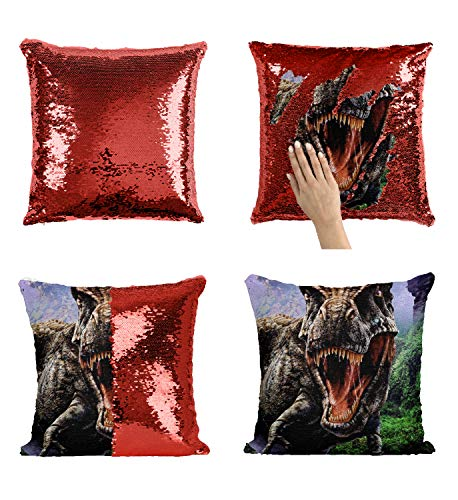 Angry Prehistoric T-Rex_P231 Sequin Pillow, Funny Pillow, Sequin Reversible Pillow, Throw Pillow Cover, Décor, Gift for Him Her, Birthday Christmas Halloween, Present (Pillow Cover) ()