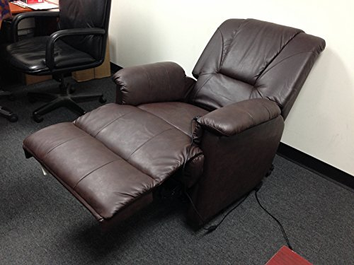 1PerfectChoice Reseda Comfort Recliner Chair Power Lift Wall Hugger Massage Brown PU