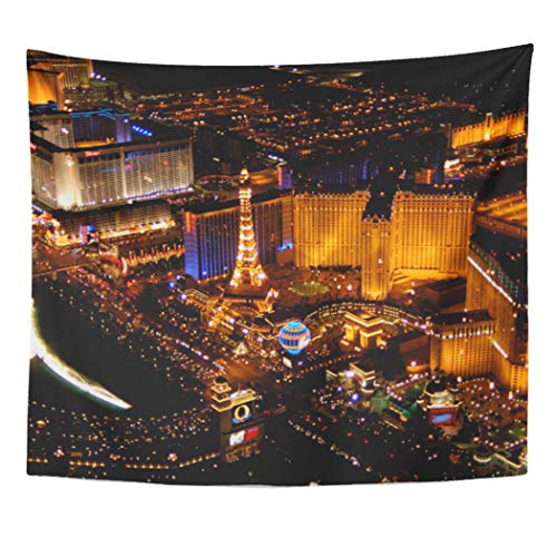 Semtomn Tapestry Artwork Wall Hanging Hotel Las Vegas Aerial View Taken from Venetian Imperial 50x60 Inches Tapestries Mattress Tablecloth Curtain Home Decor Print]()