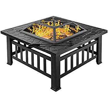 "Amazon.com : Bonnlo 32"" Fire Pit Outdoor Wood Burning ... on Zeny 24 Inch Outdoor Hex Shaped Patio Fire Pit Home Garden Backyard Firepit Bowl Fireplace id=74842"