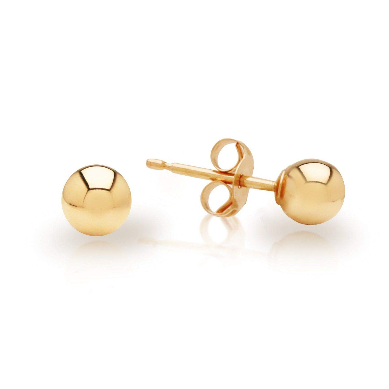 14k Yellow Gold Hollow Ball Stud Earrings 7MM