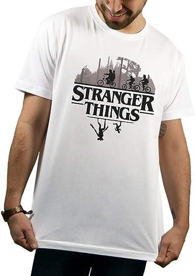 SUPERMOLON Camiseta Unisex Stranger Things S Blanco Básica: Amazon.es: Ropa y accesorios