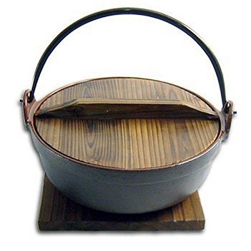 japanbargain s1803 enamel coated cast iron pot with wooden lid and base ebay. Black Bedroom Furniture Sets. Home Design Ideas