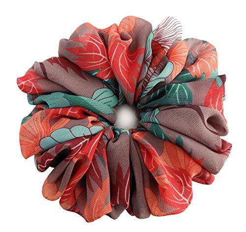 Japanese Maple Orange Pale Plum Turquoise Large Chiffon Scrunchies Stylish Accessories Hair Band Ponytail Holder Teen Girls Women