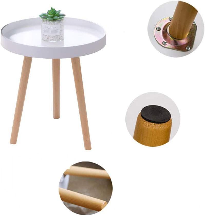 Laagste Prijs ZRRtables salontafel voor kleine woningen kleine ronde tafel Scandinavisch massief hout bijzettafel balkon erker bijzettafel met antislip tafelpoten A FkrbNM0