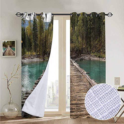 fengruiyanjing Windows Decor Curtain Panel Custom Panels for Girls Boys, Landscape, River Pine Tree Forest 96