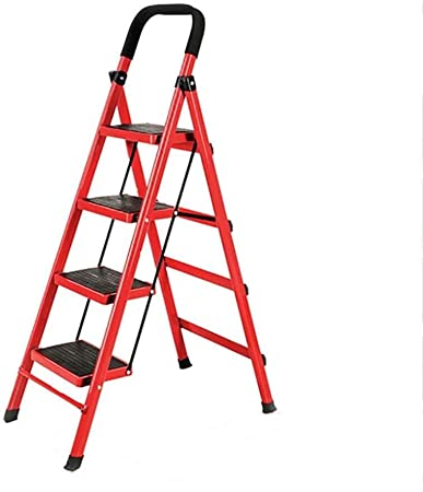 RFJJAL Escalera hogar Plegable Taburete de Paso 4 Escalera de Mano, Conveniente Metal Ancha Escalera Pedal, Cubierta Escalera Exterior Escaleras /Escalera mecánica (Color : Red): Amazon.es: Hogar