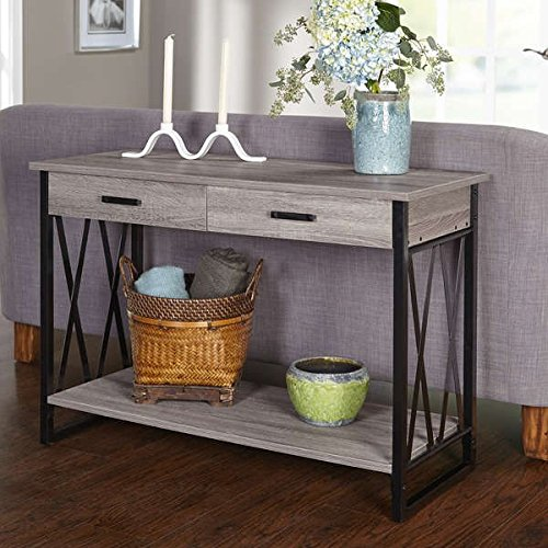 (Simple Living Seneca XX Black/ Grey Reclaimed Look Sofa Table, 30 inches high x 42 inches wide x 18 inches)