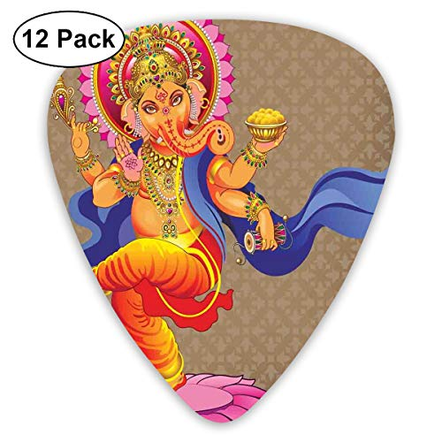Guitar Picks - Abstract Art Colorful Designs,Dancing Eastern Religious Icon Of Wisdom Pantheon Ancient Spiritual Lord Print,Unique Guitar Gift,For Bass Electric & Acoustic Guitars-12 Pack