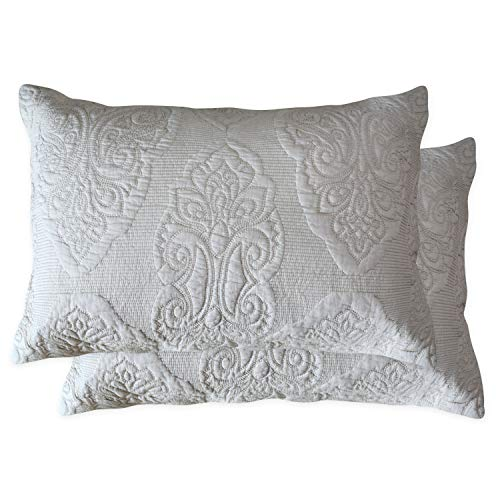 Brandream Beige Paisley Quilted Pillow Shams Standard Size Pillow Covers Set of 2 100% Cotton
