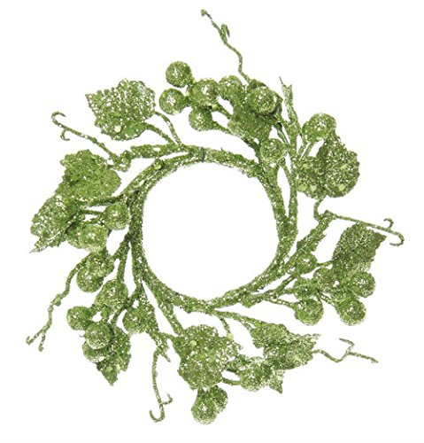 SET OF THREE! Christmas Glitter Berry Candle Ring or Mini Wreath in CHOICE OF 3 COLORS (Green)