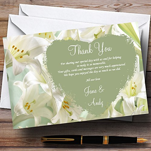 (White And Green Calla Lily Personalized Wedding Thank You Cards )