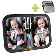 Baby Car Back Seat Mirror, View Rear Facing Infant in Backseat, Convex and Shatterproof Glass, Fully Assembled Crash Tested, Distinctive Anti-Vibration Gear Design, With 3 Packs Of Sunshades By Vicsou