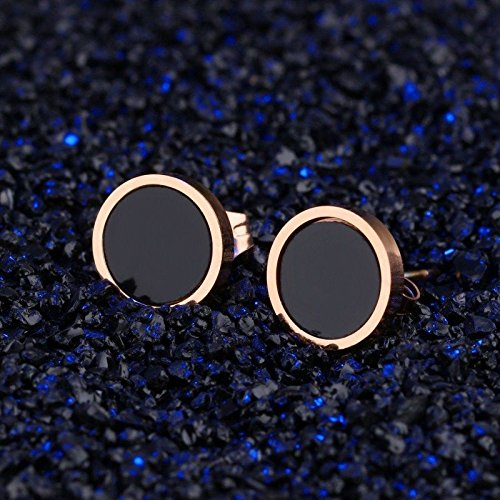 wattana 18K Rose Gold Black Enamel Round Ear Studs Women Titanium Steel Wedding Earrings Wat by wattana (Image #1)