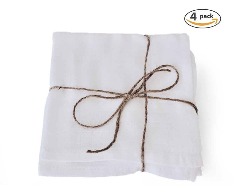 Love Hyggie - 100% organic cotton muslin cloth washcloths perfect for removing facial makeup (4 pack)