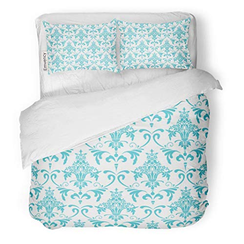 MIGAGA Decor Duvet Cover Set Full/Queen Size Damask Classic Wallpaper with Victorian Ornament Seamless Pattern Floral Motif 3 Piece Brushed Microfiber Fabric Print Bedding Set Cover