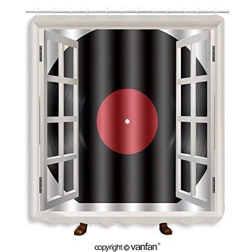 Vanfan designed Windows 76553110 Black vinyl record lp album disc; isolated long pla Shower Curtains,Waterproof Mildew-Resistant Fabric Shower Curtain For Bathroom Decoration Decor With Shower Hooks
