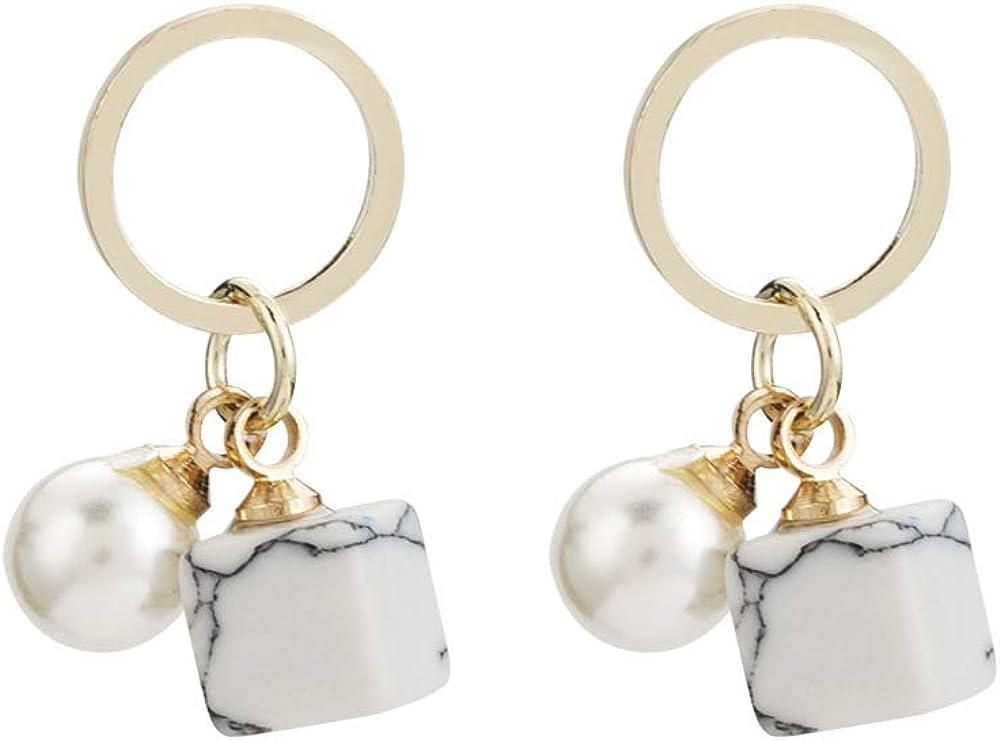 Pendientes de plata de la moda s925, cuentas de turquesa cuadradas circulares de oro simple círculo pendientes de perlas