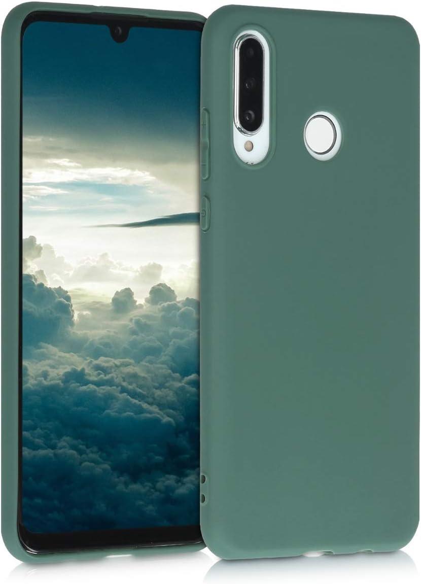 Carcasa de TPU y Luna en Gris Claro//Negro kwmobile Funda Compatible con Huawei P30 Lite