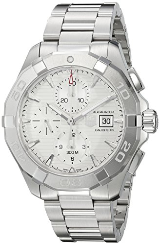 Aquaracer Silver Dial - TAG Heuer Men's 'Aquaracer' Swiss Automatic Stainless Steel Dress Watch, Color:Silver-Toned (Model: CAY2111.BA0927)