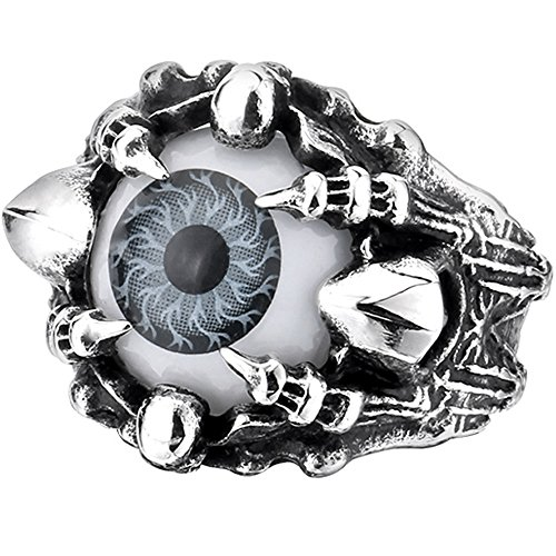 (Men's Vintage Gothic Biker Dragon Claw Evil Devil Eye Skull Stainless Steel Ring Grey White Black Silver Size 8)