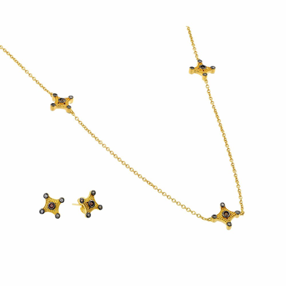 Gold Plated Sterling Silver Champagne 4 Point CZ Earring /& Necklace Set 36