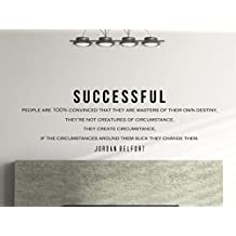 """Jordan Belfort Motivational Typography Quote Wall Decal Office Home Decor """"Successful People Are 100% Convinced"""" 42x14 Inches"""