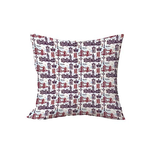 iPrint Polyester Throw Pillow Cushion,London,Hand Drawing Style Sketchy City with Famous Landmarks Architecture,Eggplant Maroon Pale Blue,17.7x17.7Inches,for Sofa Bedroom Car Decorate