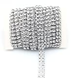FQTANJU 2 Rows Silver Diamond Sparkling Rhinestone Mesh Ribbon for Event Decorations, Wedding Cake, Birthdays, Baby Shower, Arts & Crafts,3/8