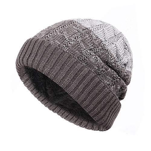 t Beanie Hat Color Matching Winter Man Woman Plus Velvet Thicken Hedging Cap Gray B ()