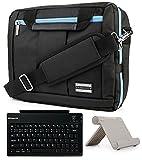 Universal Tablet Stand & Bluetooth Keyboard & Aqua Shoulder Bag for LG G Pads II & III