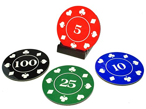 (Poker Chips Cork-Back Coaster Set - 4 Piece Set, Wood Holder Included)