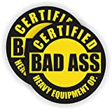 (2) Bad Ass HEAVY EQUIPMENT OPERATOR Hard Hat Stickers | Motorcycle Helmet Decals Labels Crane Bulldozer Excavator Truck Construction Badass