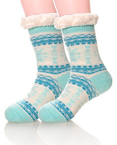 Eocom Women's Winter Warm Fuzzy Non Slip Slipper Socks Christmas Valentine's Day Gift Idea (Green Snowflake)