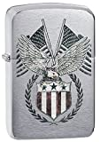 Americana Eagle Indoor Outdoor Windproof Zippo Lighter Free Custom Personalized Engraved Message Engraving on Backside