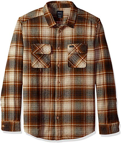 RVCA Men's HIGH Plains Long Sleeve Woven Plaid Shirt, Bronze, S -