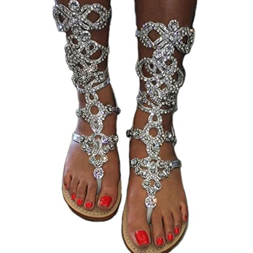 Eslite will Women's Mid Calf Rhinestone Gladiator Sandals Plus Size Available Two Colors Selectable Sandals Size 9.5-10 - Patent Gladiator Shoes