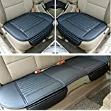 FLY5D 3Pcs Universal PU Leather Bamboo Charcoal Breathable Auto Car Seat Cushion Cover Pad Mat Front Rear Seat Cover (Black)