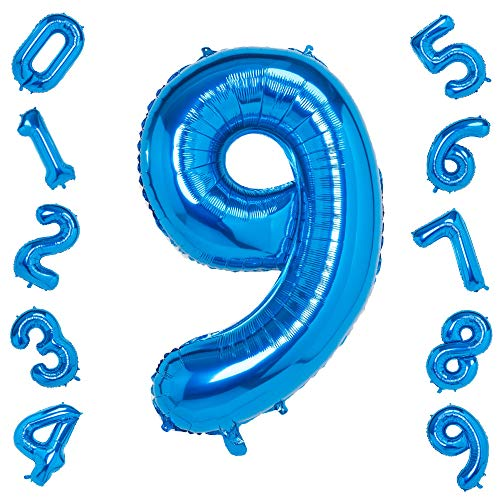 Blue Number 9 Balloons,40 Inch Birthday Number Balloon Party Decorations Supplies Helium Foil Mylar Digital Balloons (Blue Number 9) -