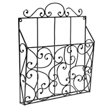 Elegant Scrollwork Design Black Metal Wall Mounted Magazine Organizer & Display Rack - MyGift