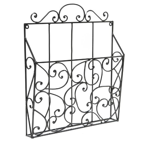 - MyGift Elegant Scrollwork Design Black Metal Wall Mounted Magazine Organizer & Display Rack