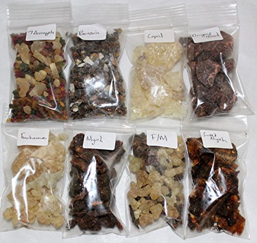 Resin Incense Variety Sampler Set: 8 Fragrances, 8 x 1/2 oz bags plus Burner and Charcoal by Rainbowrecords239