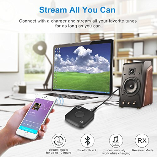Bluetooth 4.2 Receiver Adapter/Car Kit,Csr aptX Low Latency,Kroaprao Wireless Bluetooth 3.5mm AUX and RCA HiFi Audio Receiver Devices 300mAh (10Hrs,NFC,Hands-Free Calling) for Home Stereo System by KROA PRAO (Image #2)