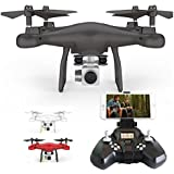 X52 2.4G RC Drone Build-in 6 Axis Gyro Quadcopter with WiFi Camera Live Video, App Operation (Black)