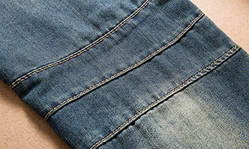 Bobo Especial Fori 88 Estilo Da Pantaloni Strappati Jeans Blau Uomo Cher Dritti Piega Moto Gamba A qrwqzxaXHn