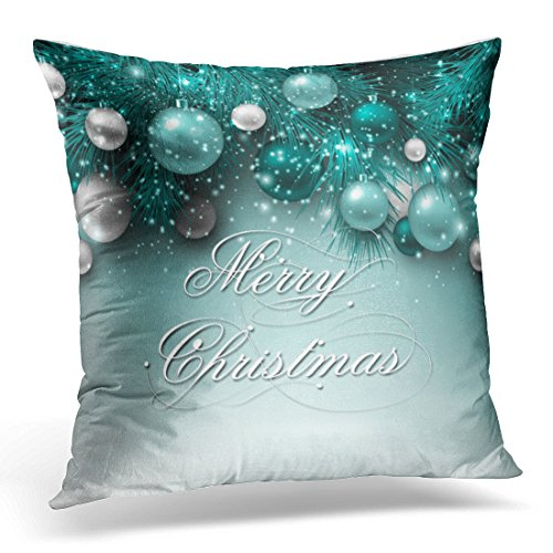 Emvency Throw Pillow Cover Blue Festive Christmas Holiday Teal Green Merry Decorative Pillow Case Home Decor Square 20 x 20 Inch Pillowcase