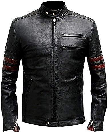 Classic Fight Club Tyler Durden Brad Pitt Chaqueta de cuero negro genuino estilo retro para hombre