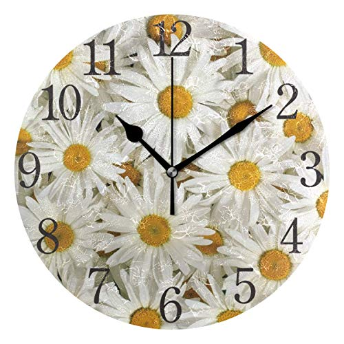 SUABO Wall Clock Arabic Numerals Design Cute Daisy Round Wall Clock for Living Room Bathroom Home Decorative ()