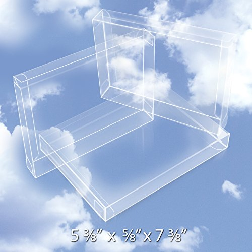 25 Crystal Clear Boxes (12 Mil) - Greeting Card Boxes Protect Photos, Party Favors, A7 Envelopes - Bulk Plastic Packaging Case for Stationery Storage, Gift Card Safe BOX5-3/8X5/8X7-3/8-B25