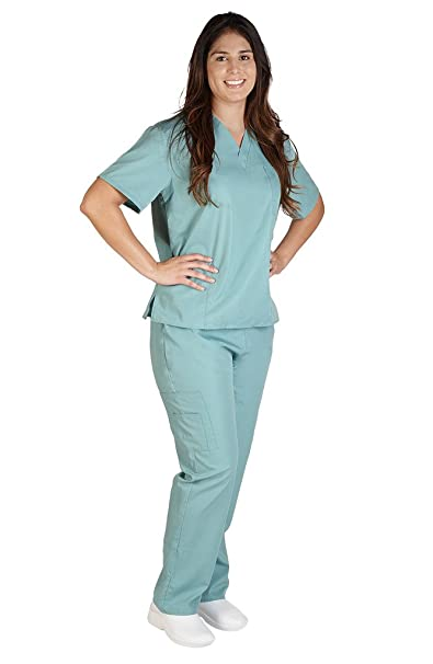 44dd9643d44 Amazon.com: M&M SCRUBS Women Scrub Set Medical Scrub Top and Pants ...